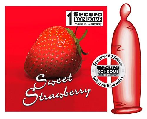 Rotes Kondom mit Erdbeer Aroma