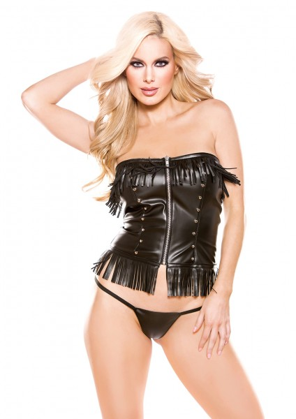 FAUX LEATHER CORSET TOP OS