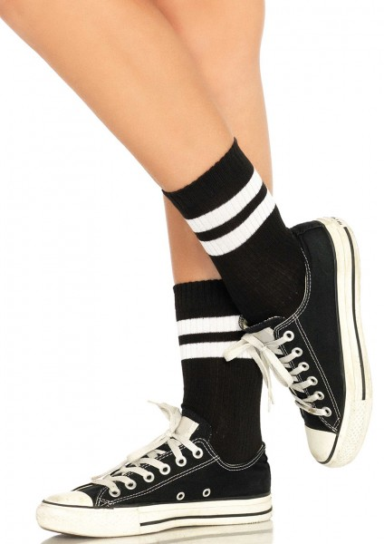 ATHLETIC STRIPED ANKLET SOCKS OS
