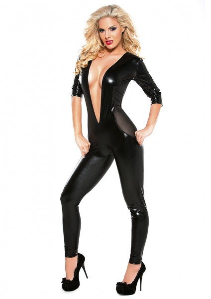 MESH CATSUIT LONG SLEEVE BLACK OS