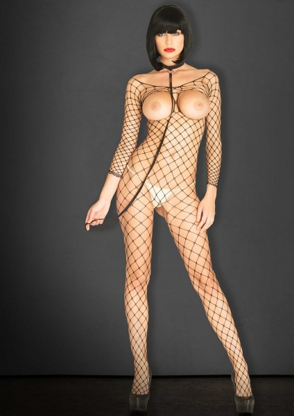 OPEN CUP BODYSTOCKING & CHOKER OS