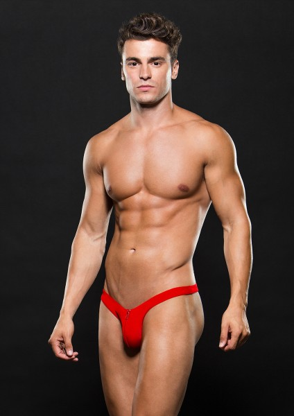 LOWRISE ZIP THONG M/L RED