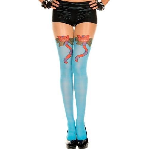 Music Legs – Strumpfhose in Blau mit Katzenmuster