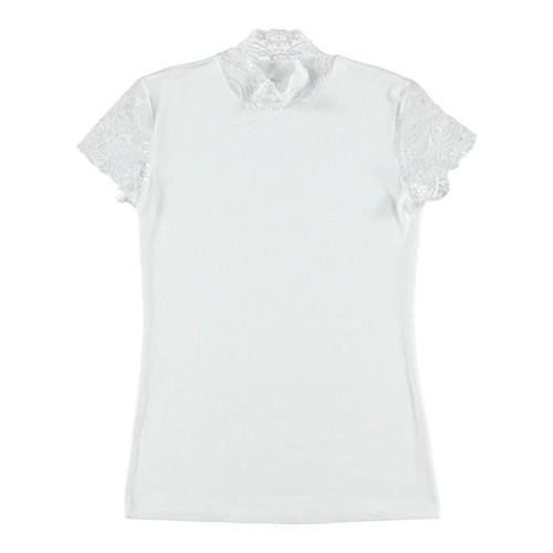 Shirt mit Spitzenärmeln - weiß XL