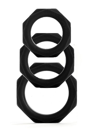 Octagon Rings - 3 Sizes - Black